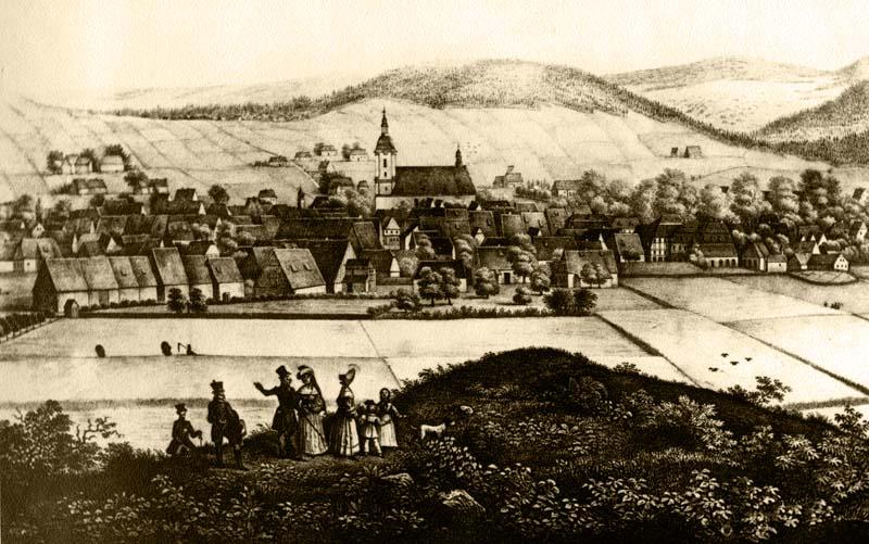 Šluknov před požárem v roce 1838