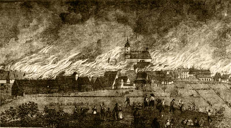 Ničivý požár Šluknova 13.dubna 1838